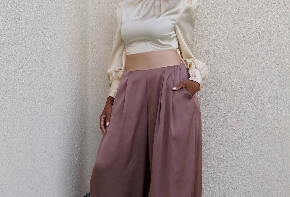 Miss Lady Color-block Jumpsuit-Mauve