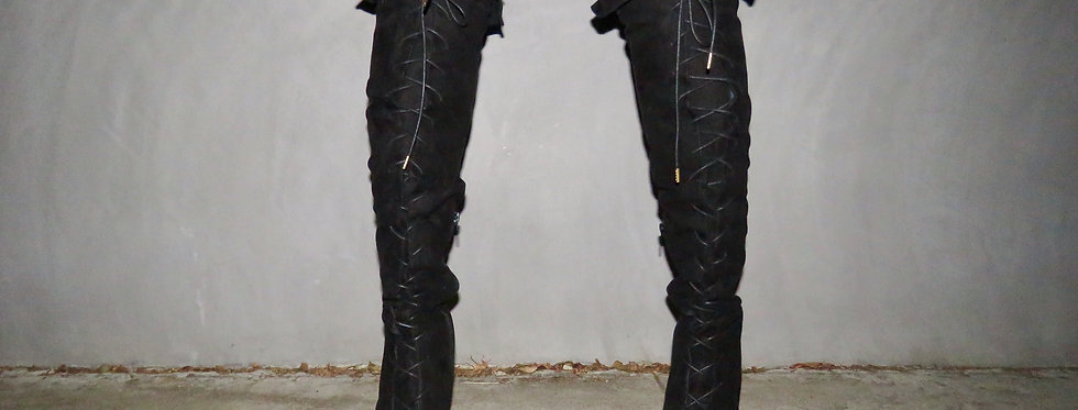 Lace Me Up Ruffle Top Boots