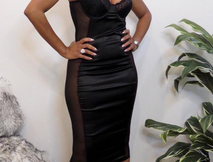 Been That Chic Black Midi Dress
