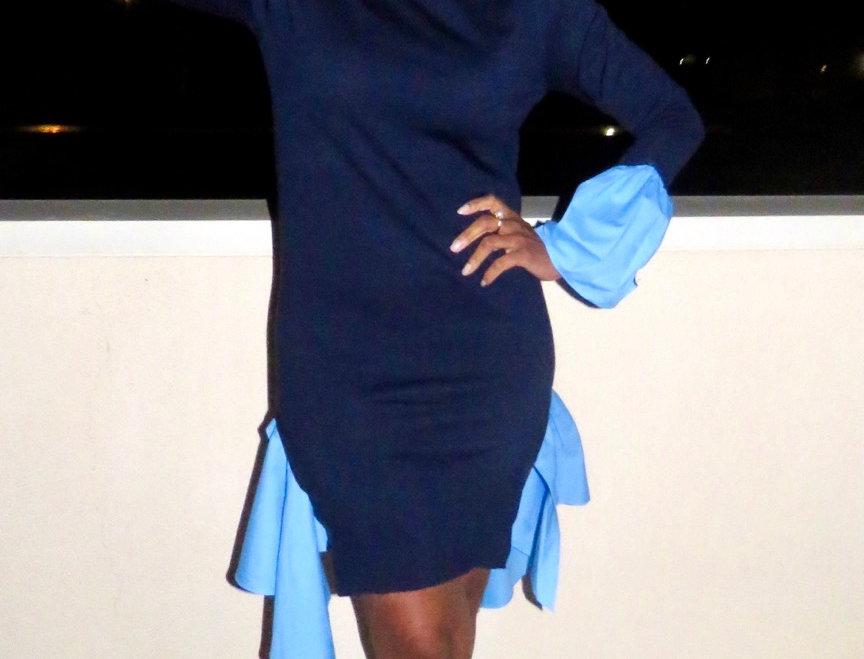 Two Blue Knit Dress