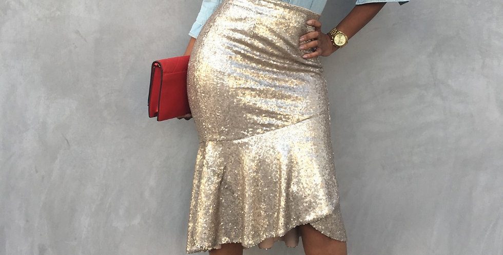 Sparke and Shine Ruffle Pencil Skirt