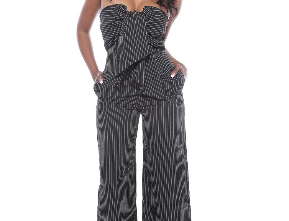 Front Tie Striped Jumper