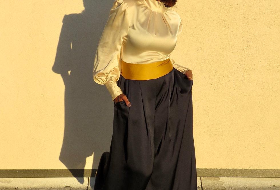 Miss Lady Color-block Jumpsuit-Navy