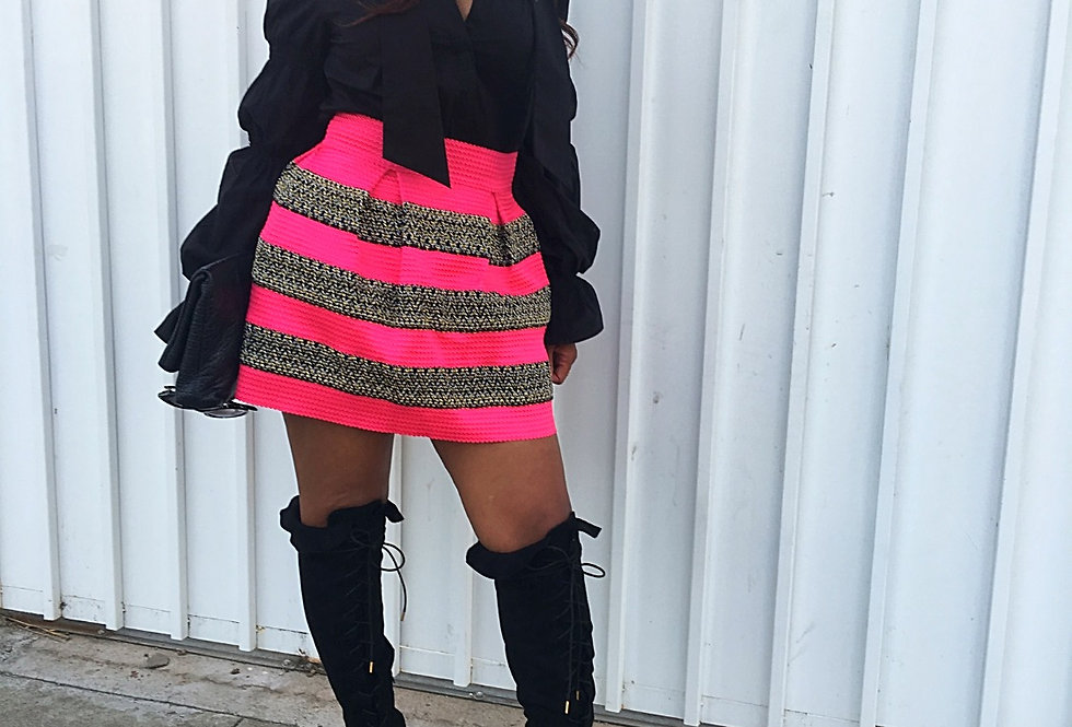 Party Poof Girl Striped Skirt