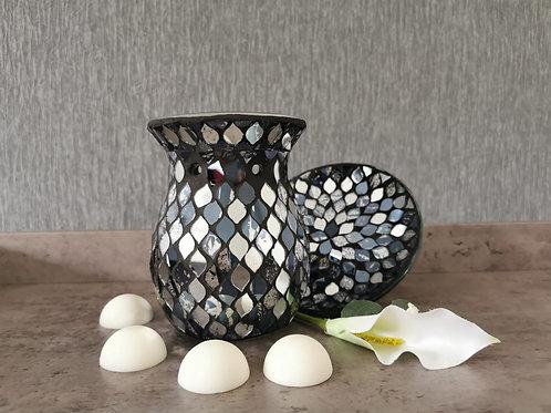 Allumi Ebony Mirror Mosaic melt Burner with stand c/w 10 Purity Wax Melts