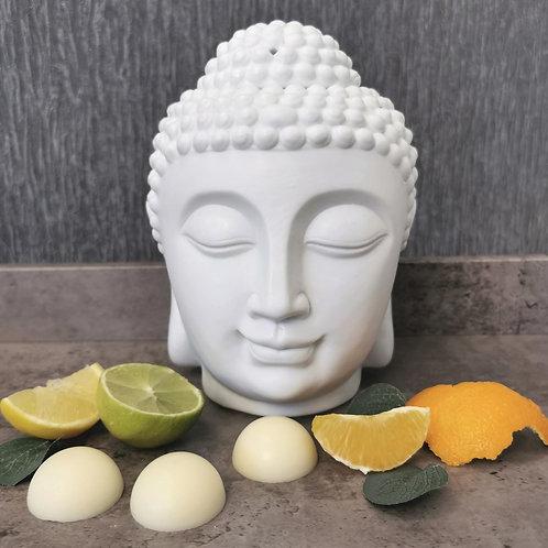 Allumi White Ceramic Buddha with 10 Energize Wax Melts