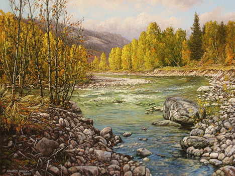 """'Last Days of Summer on the Coldwater' - 24""""x 30"""" - Oil. SOLD."""
