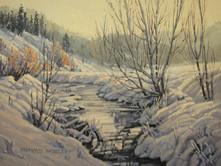 """'Allison Creek In Winter' - 8""""x 10"""" - Oil. (#0739) $700.00 unframed."""