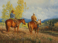 """'Cattle Country Cowboys' - 30""""x 40"""" - Oil. (#0724) $7,700 unframed."""
