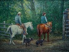 "'Cottonwood Lane' - 18""x 24"" - Acrylic. (#0648) $2,750.00 unframed."