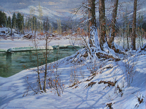 """'Spius Creek In Winter' - 24""""x 30"""" - Oil. SOLD."""