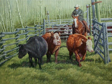 """'Cattle Of The Lazy L' - 20""""x 30"""" - Oil. (#0556) $3,850.00 unframed."""