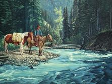 """'Last Crossing - Lawless Creek' - 30""""x 48""""- Acrylic. (#0457) $9,240.00 - Unframed."""
