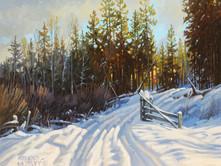 """'Winter Road' - 8""""x 10"""" - Oil. (#0731) $700.00 unframed."""