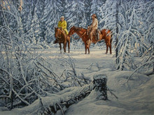 """'Cowboy Conference' - 18""""x 24"""" - Oil. SOLD."""