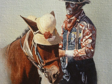 """'Mule With the Yellow Hat' - 16""""x 20"""" - Oil. SOLD."""