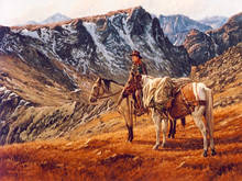 """'Packing Into the High Country' - 18""""x 24"""" - Oil. SOLD."""