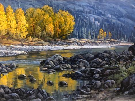 """'Autumn - Similkameen River - 12""""x 24"""" - Oil. SOLD."""