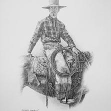 """'The Cowboy Spirit' - 22""""x 30"""" - Graphite. (#0756) $1,925.00 unframed."""