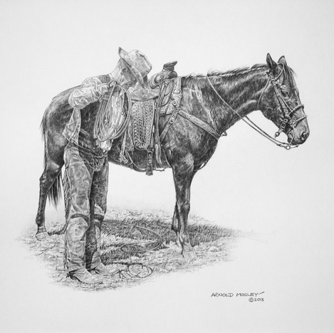 """'Re-coiling His Rope' - 22""""x 30"""" - Graphite. (#0758) $1,925.00 unframed."""