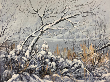 "'First Snow - Nicola Lake' - 8""x 10"" - Oil. $700.00 unframed."