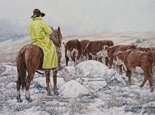 "'Minnie Lake Cattle Drive' - 12""x 16"" - Oil. SOLD."
