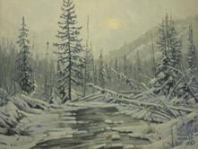 """'Winter In Wells Grey Park' - 8""""x 10"""" - Oil. (#0735) $700.00 unframed."""