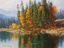 "'Autumn Reflections' - 14""x 18"" - Oil. (#0718) $1,625.00 unframed."