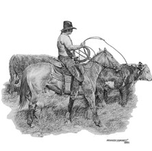 """'The Cowboy Life' - 22""""x 30"""" - Graphite. (#0745) $1,925.00 unframed."""