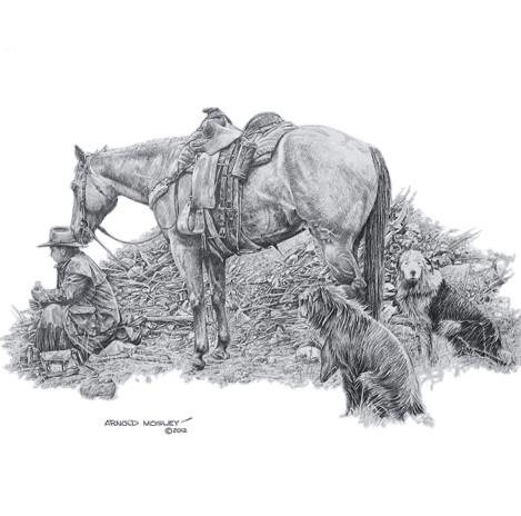 """'Lunch For One' - 22""""x 30"""" - Graphite. (#???) $1,925.00 unframed."""