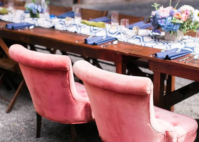 Wedding tablescape outdoors at The Ruins