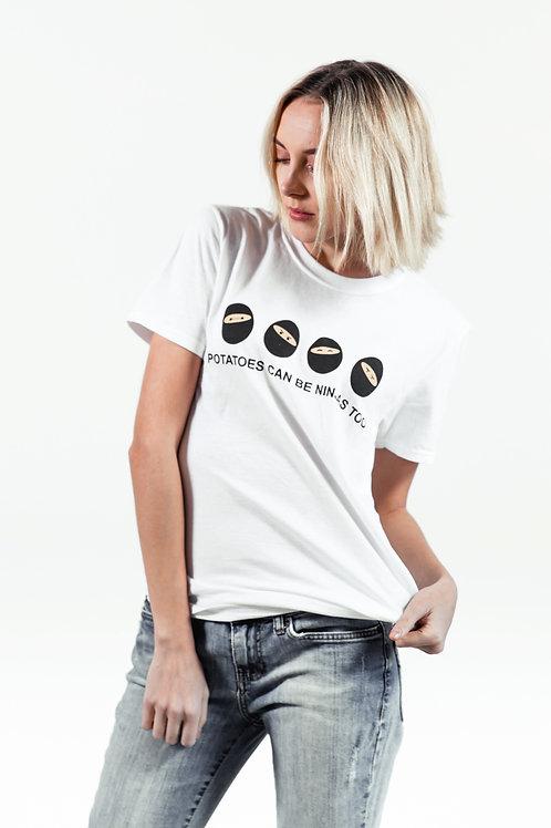 """""""potatoes can be ninjas too"""" t-shirt"""
