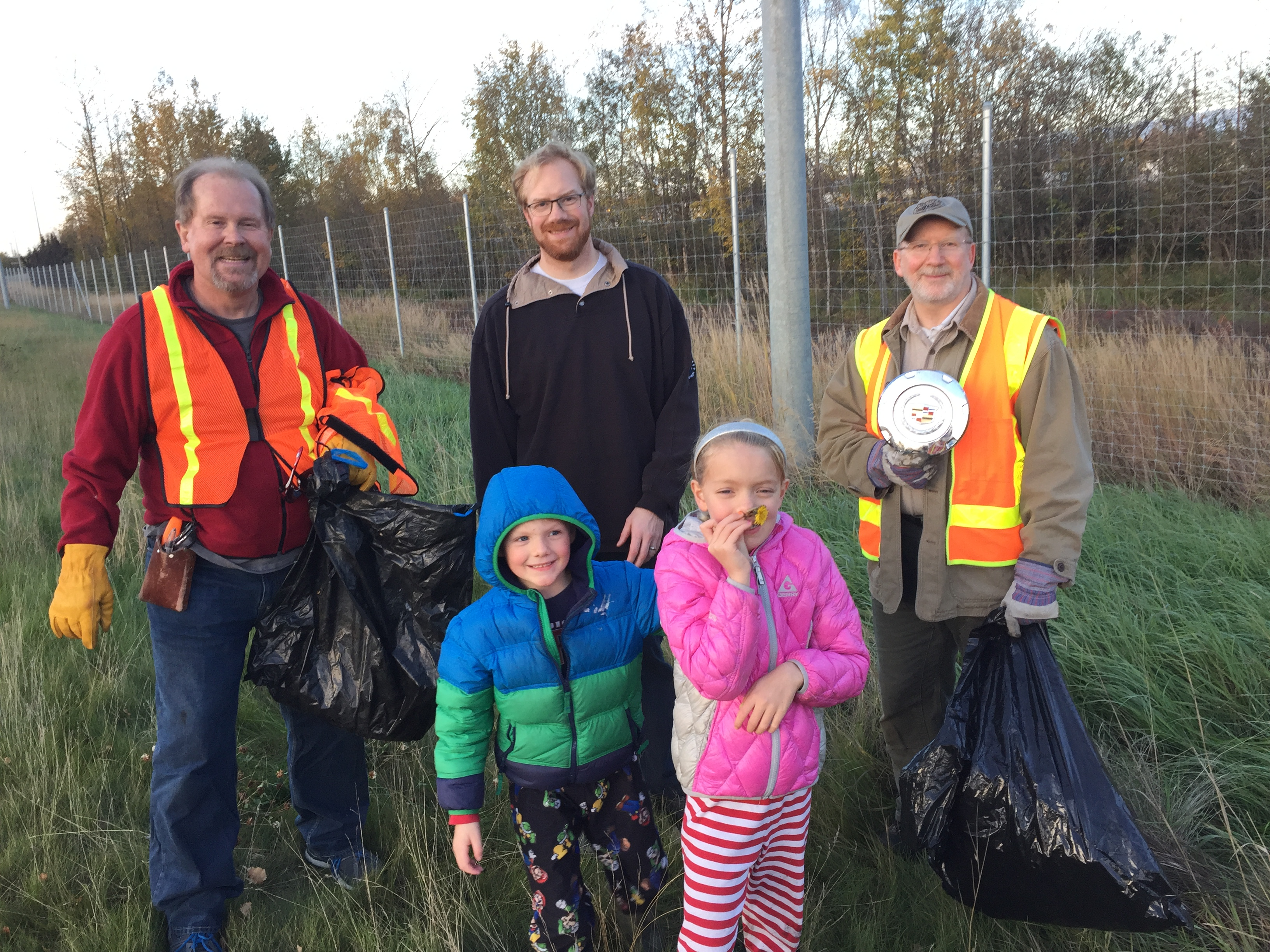 Adopt a highway trash pickup Al Biss & children, Mike and I & Scott Robbins Fall of 2016