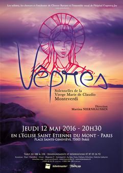 affiche Monteverdi St Etienne du Mont, concert redonné le surlendemain en la cathédrale de Chartres