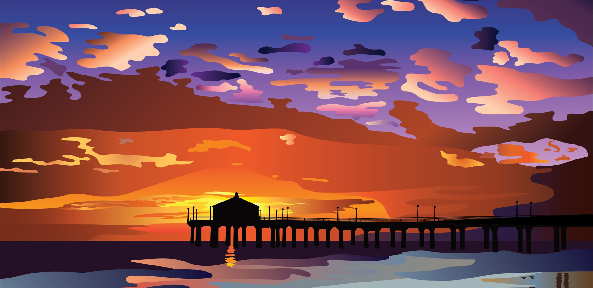 Huntington Beach Pier, California at Sunset