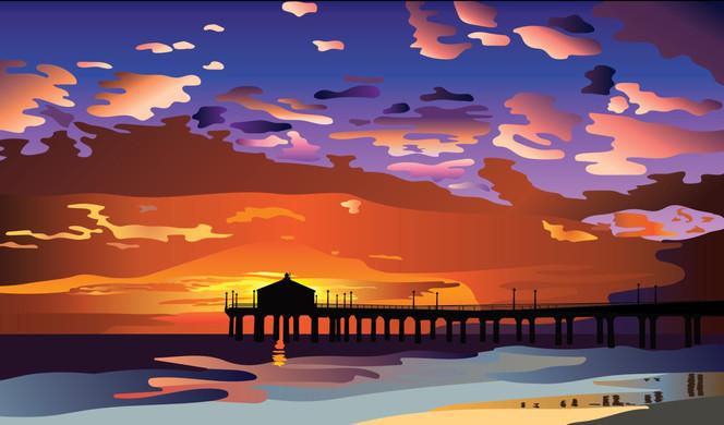 Huntington Beach Pier, California at Sunset