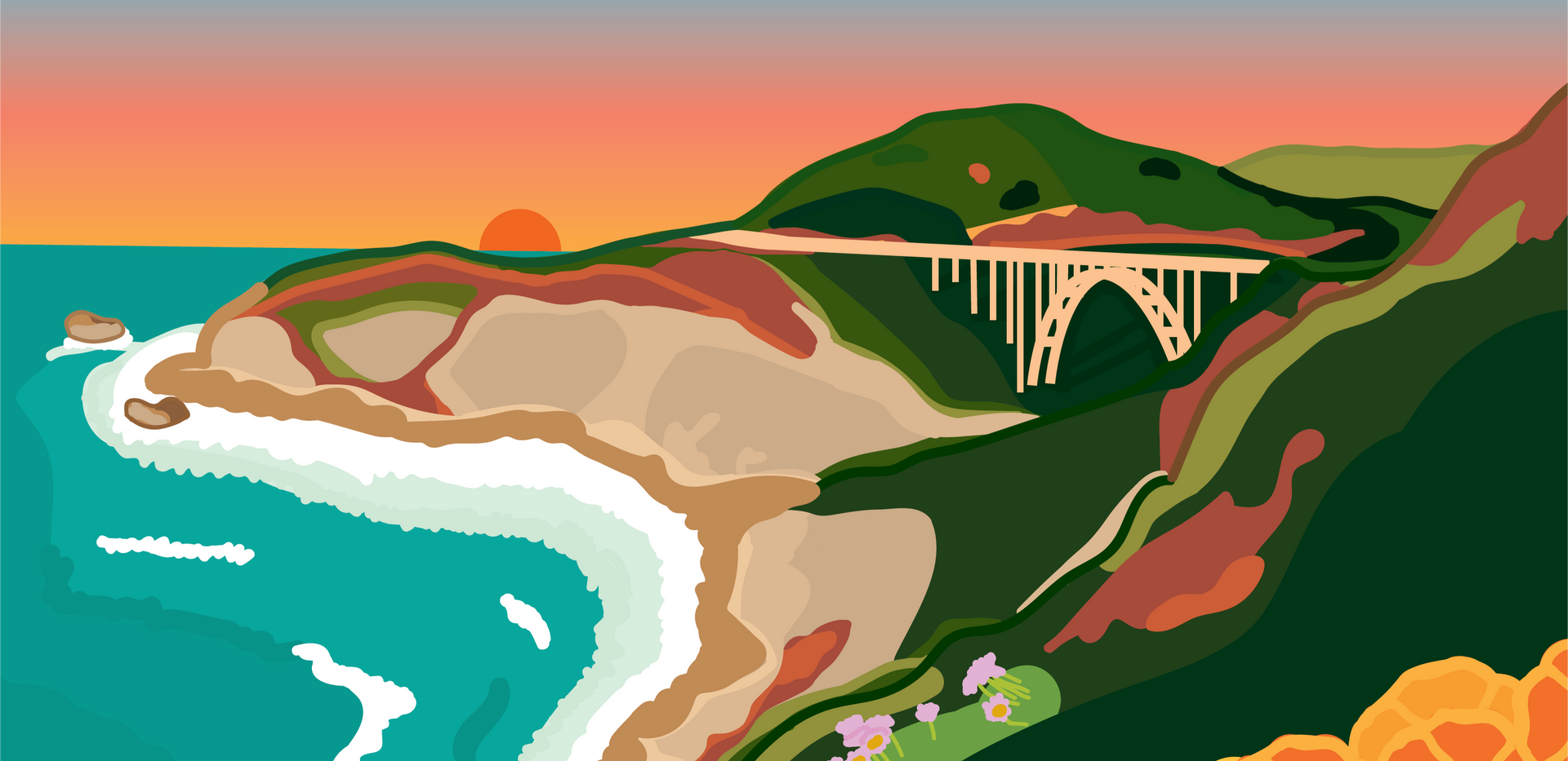 Bixby Bridge, Big Sur, California at Sunset