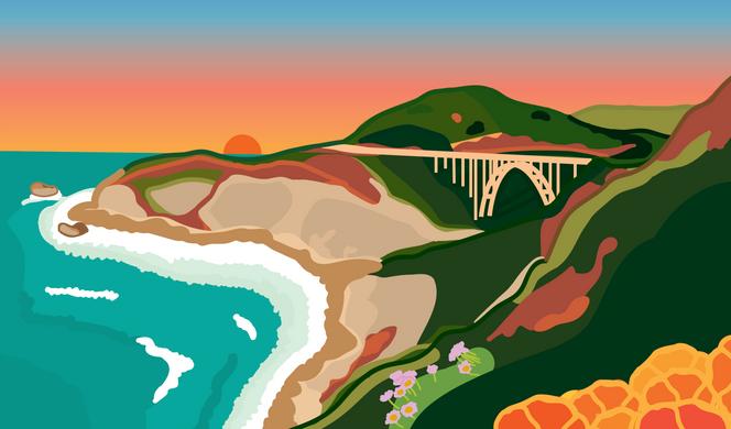 Bixby Bridge, Big Sur, California at Sunset