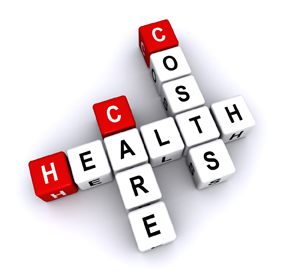 graphic repsentation of a 3D word puzzle with the words: health, care and costs