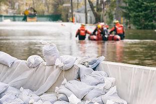 Flood Protection Sandbags with flooded h