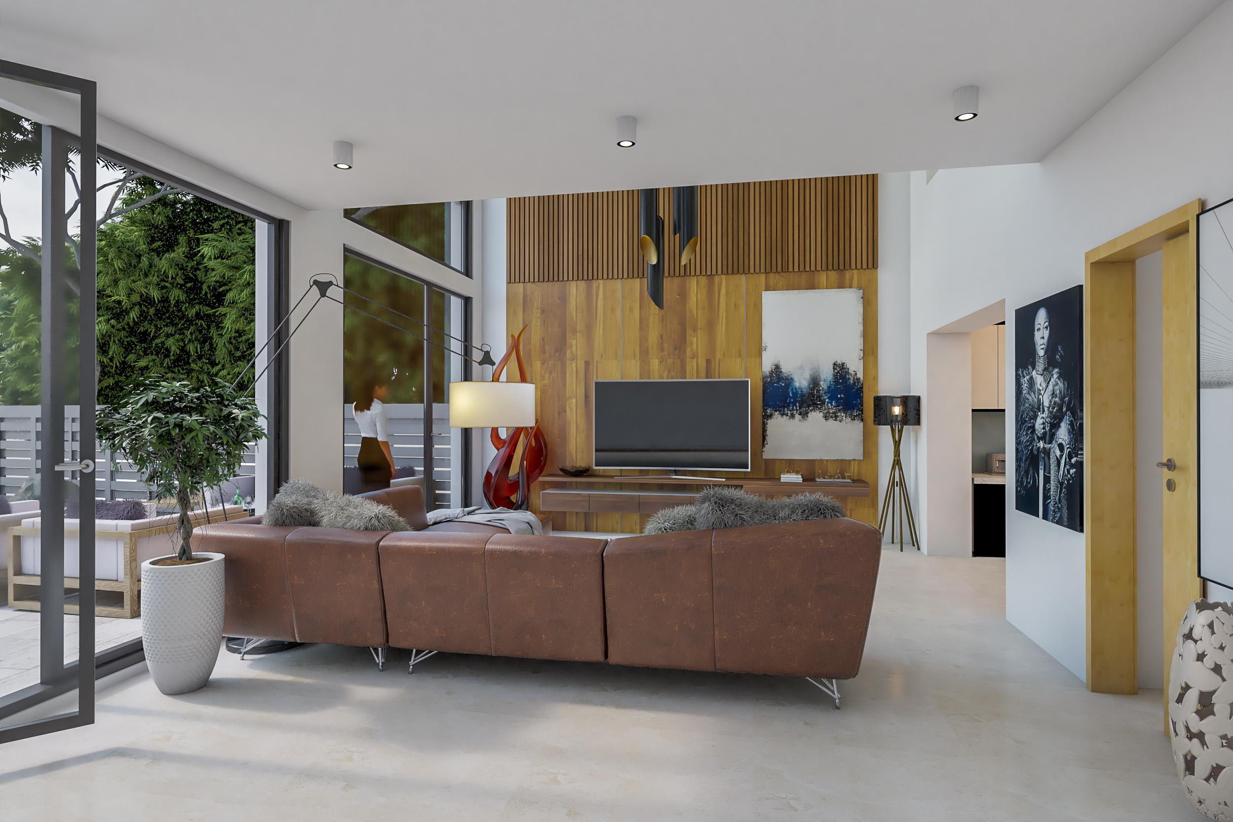 Vizualizace obývacího pokoje po rekonstrukci