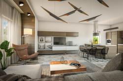 Vizualizace přízemí - obývací pokoj s kuchyňským koutem