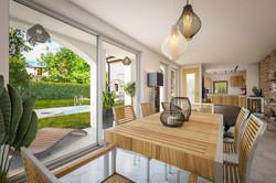 Vizualizace přístavku - letní kuchyně s terasou a bazénem