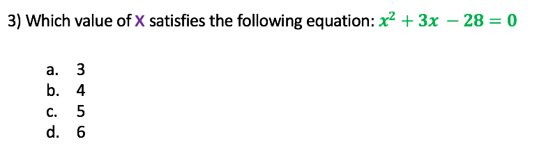 Which value of x satisfies the equation below