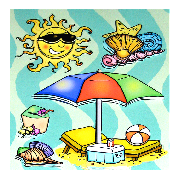 Beach Themed Dimensional Stickers