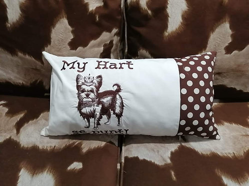Embroided Yorkie pillow