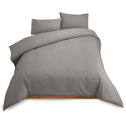 Warm Grey Percale Cotton 200TC Duvet cover set