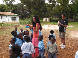 Sandra and Tim during recreation time with students