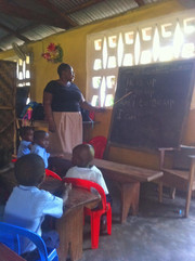 Typical classroom that meets in one-room church building