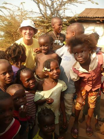 Joe with neighborhood kids in Wilberforce